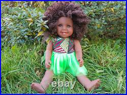 17 Aliyah Baby Girls Afro African Black Doll (Afro Hair) Jungle Thrill 43cm