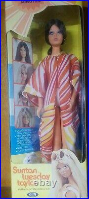 1977 Ideal Tuesday Taylor Doll and Her Suntan Doodles NRFB New Mint In Box Vtg
