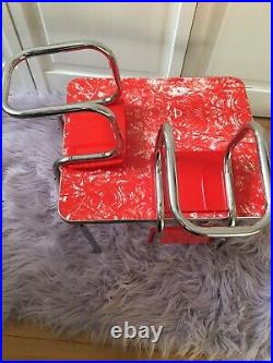 American Girl Doll Molly CHROME TABLE & CHAIRS Retro Red Vinyl Diner Kitchen Set