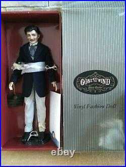 Franklin Mint GWTW RHETT BUTLER 17 Vinyl DOLL in Suit Ensemble + Stand, COA +Box