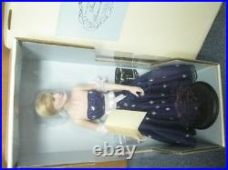 Franklin Mint Princess Diana Vinyl 16 Inch Doll In Navy Blue Dress NEW