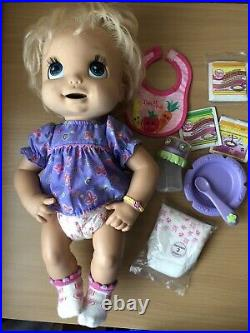 HASBRO 2006 Baby Alive Interactive Doll Soft Face Cup Spoon Bowl Diaper Food Lot