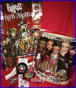Huge Lot-Bratz 5 Rock Angelz 1st EDITION 2001 DOLLS with Rare ROXXI, CD, Poster, More