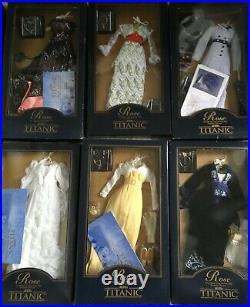 LOT of 12 Franklin Mint TITANIC Rose DOLL ENSEMBLES NRFB some withCOA & worn boxes