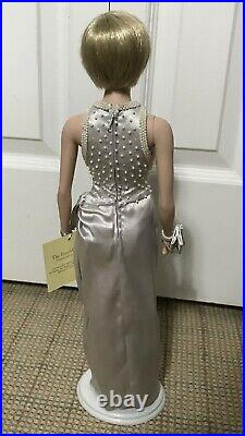 RARE Franklin Mint PRINCESS DIANA Vinyl Doll In Gray Silk + Pearl Gown For Sale
