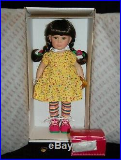 RARE Vtg Effanbee Katie's Colorful Day Doll Brown Hair Pig Tails Yellow Dress