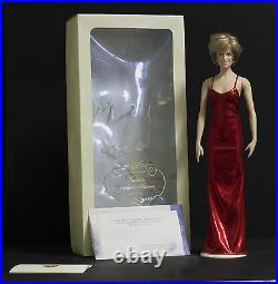 Rare original Franklin Mint vinyl doll DIANA THE PEOPLE'S PRINCESS RED LAMé GOWN