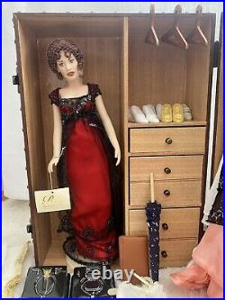 TITANIC Franklin Mint Rose Doll & 12 Outfits 9 shoes Jewelry Accessories Trunk
