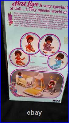 Vintage 1979 FIRST LOVE Black Doll Poseable Doll in Original Box Louis Marx Mint