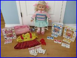 Vintage 1985 Cricket Lot 25 Doll, Outfits, Books, Tapes, Bag, Chair Works