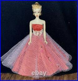 Vintage All Original Vintage Barbie #3 With Blond Ponytail Brown Eyeshadow Dress