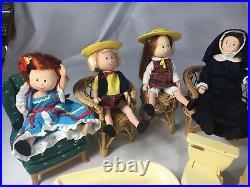 Vintage Eden Toys Madeline Lot Of 4- 8dolls Furniture Plus More