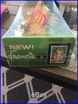 Vintage Mattel Francie Nrfb Ash Blond Doll Mint W Lifelike Eyelposeable Stand