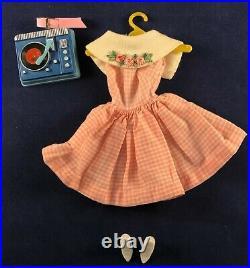 Vtg 60s Barbie Dancing Doll Dress Spike Heels Pink Vinyl Belt Record Player