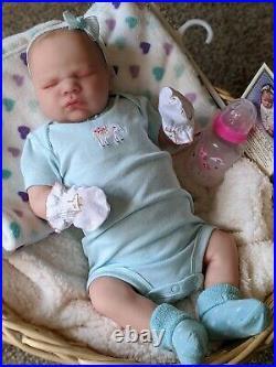 WILLIAMS NURSERY REBORN BABY GIRL DOLL Realborn Lavender Asleep NEWBORN belly